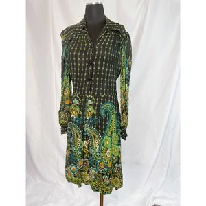 Vintage 70s 80s psychedelic paisley shirt dress